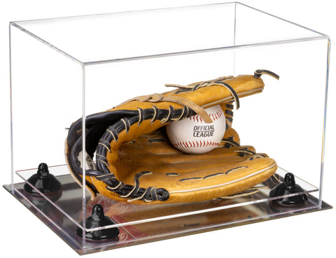 Clear Acrylic Baseball Glove Display Case with Risers and Mirror Base