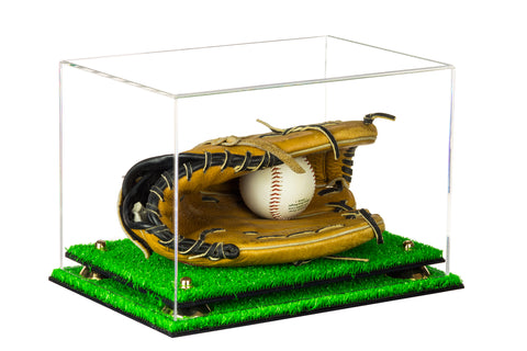 Deluxe Clear Acrylic Baseball Glove Display Case with Risers and Turf Base (A004-TB)<br><sub>For MLB, NCAA, and more, Display Case, Better Display Cases, Better Display Cases - Better Display Cases