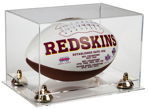 Deluxe Clear Acrylic Football Display Case with Risers and Clear Base (A004-CB)<br> <sub> NFL, NCAA, and more! </sub>, Display Case, Better Display Cases, Better Display Cases - Better Display Cases