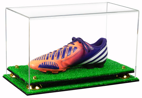 Deluxe Clear Acrylic Large Shoe Display Case for Basketball Shoe Soccer Cleat Football Cleat with Risers and Turf Base (A013-TB)<br> <sub> For NBA, NCAA, and more </sub>, Display Case, Better Display Cases, Better Display Cases - Better Display Cases