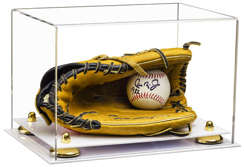 Clear Acrylic Baseball Glove Display Case with Risers and White Base