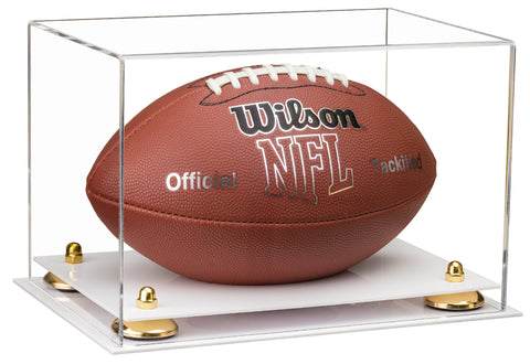 Clear Acrylic Football Display Case with Risers and White Base for NFL, NCAA, and more! (A004-WB)