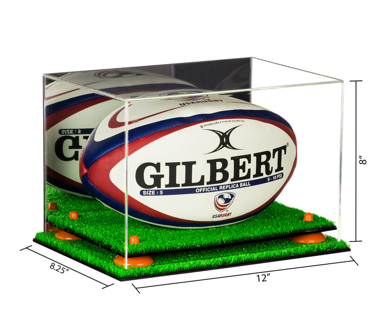 Acrylic Rugby Ball Display Case w/ Mirror, Turf Base A004/B41