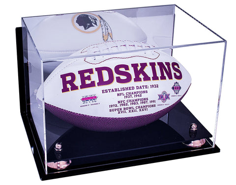 Full Sized Football <br> Mirrored Display Case <br> Wall Mount<br> <sub> NFL, NCAA, and more! </sub>