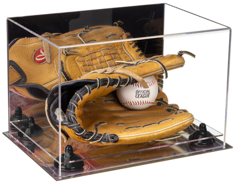 Acrylic Baseball Glove Display Case with Mirror, Risers and Mirror Base