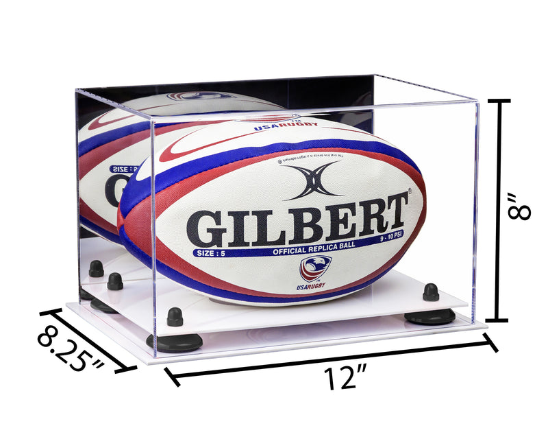 12x8.25x8 Mirrored Rugby Ball Display Case