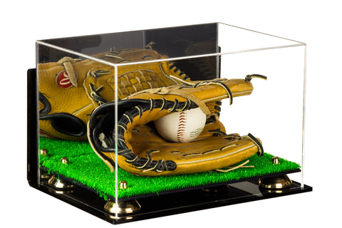 Deluxe Acrylic Baseball Glove Display Case with Risers, Mirror, Turf Base and Wall Mount (A004-TB)<br><sub>For MLB, NCAA, and more, Display Case, Better Display Cases, Better Display Cases - Better Display Cases