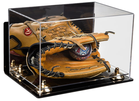 Deluxe Acrylic Baseball Glove Display Case with Mirror, Wall Mount, Risers and Clear Base (A004-CB)<br><sub>For MLB, NCAA, and more, Display Case, Better Display Cases, Better Display Cases - Better Display Cases