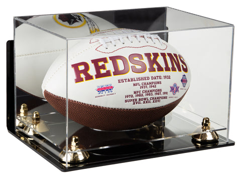 Deluxe Acrylic Football Display Case with Mirror, Wall Mount, Risers and Clear Base (A004-CB)<br> <sub> NFL, NCAA, and more! </sub>, Display Case, Better Display Cases, Better Display Cases - Better Display Cases