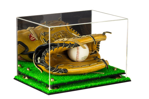 Deluxe Acrylic Baseball Glove Display Case with Risers, Mirror and Turf Base (A004-TB)<br><sub>For MLB, NCAA, and more, Display Case, Better Display Cases, Better Display Cases - Better Display Cases