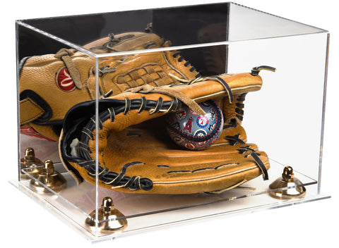 Deluxe Acrylic Baseball Glove Display Case with Mirror, Risers and Clear Base (A004-CB)<br><sub>For MLB, NCAA, and more, Display Case, Better Display Cases, Better Display Cases - Better Display Cases