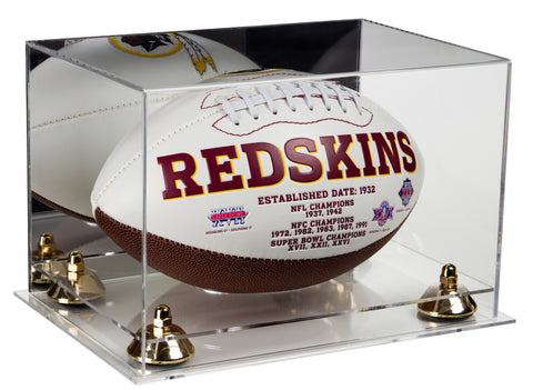 Deluxe Acrylic Football Display Case with Mirror, Risers and Clear Base (A004-CB)<br> <sub> NFL, NCAA, and more! </sub>, Display Case, Better Display Cases, Better Display Cases - Better Display Cases