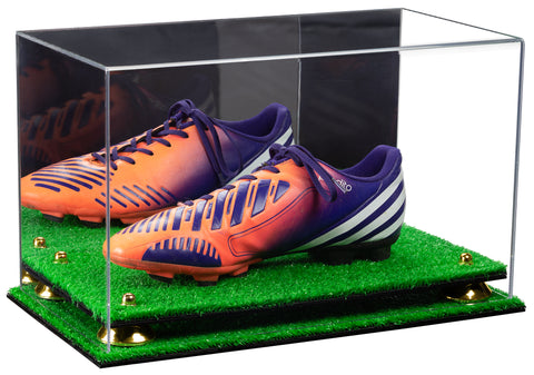 Deluxe Acrylic Large Shoe Display Case for Basketball Shoe Soccer Cleat Football Cleat with Mirror, Risers and Turf Base (A013-TB)<br> <sub> For NBA, NCAA, and more </sub>, Display Case, Better Display Cases, Better Display Cases - Better Display Cases