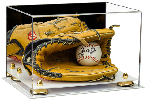 Acrylic Baseball Glove Display Case with Risers, Mirror and White Base