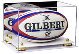 Acrylic Rugby Ball Display Case with Mirror, Risers and White Base