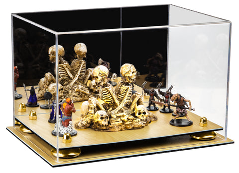 Versatile Acrylic Display Case - Large Rectangle Box with Mirror, Risers and Wood Base