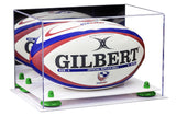 Mirrored Rugby Ball Display Box with Risers