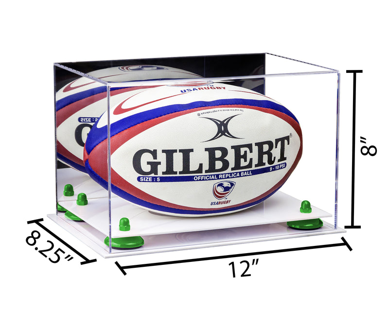 12x8.25x8 Mirrored Rugby Ball Display Box with White Base