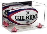 Mirrored Rugby Ball Display Box with Clear Base