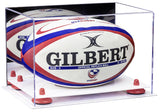 Mirrored Rugby Ball Display Box with White Base