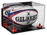 Deluxe Acrylic Rugby Ball Display Case with Mirror, Wall Mount, Risers and Clear Base (A004-CB)<br> <sub> PRO, NCAA, and more! </sub>, Display Case, Better Display Cases, Better Display Cases - Better Display Cases