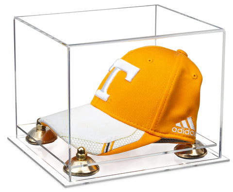 Clear Acrylic Baseball Hat or Cap Display Case with Risers and Clear Base
