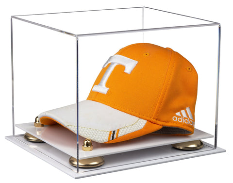 Clear Acrylic Baseball Hat or Cap Display Case with Risers and White Base