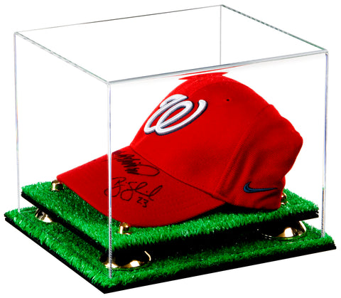 "Versatile Deluxe Clear Acrylic Display Case - Small Rectangle Box with Risers and Turf Base 8.75"" x 7.75"" x 7"" (A006-TB), Display Case, Better Display Cases, Better Display Cases - Better Display Cases"