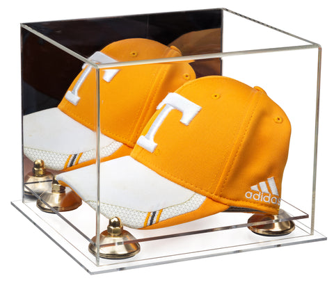 Acrylic Baseball Hat or Cap Display Case with Mirror, Risers and Clear Base