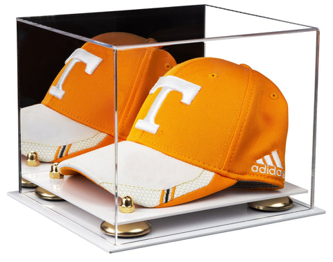 Acrylic Baseball Hat or Cap Display Case with Mirror, Risers and White Base