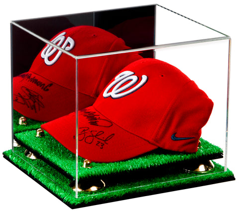 Deluxe Acrylic Baseball Cap Display Case with Silver Risers, Mirror and Turf Base (A006-TB), Display Case, Better Display Cases, Better Display Cases - Better Display Cases
