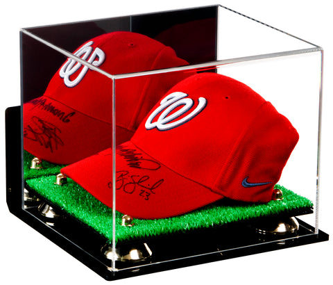 Deluxe Acrylic Baseball Cap Display Case with Risers, Mirror, Turf Base and Wall Mount (A006-TB), Display Case, Better Display Cases, Better Display Cases - Better Display Cases