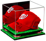 "Small Acrylic Display Case 8.75""x7.75""x7"" w/ Mirror, Turf Base A006/V21"