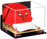Mirror Basketball Cap Display Case with Wall Mount, Risers and Wood Base