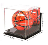 Deluxe Acrylic Full Size Square Soccer Ball Display Case<br><sub>with Risers, Mirror and Wall Mount (A027), Display Case, Better Display Cases, Better Display Cases - Better Display Cases