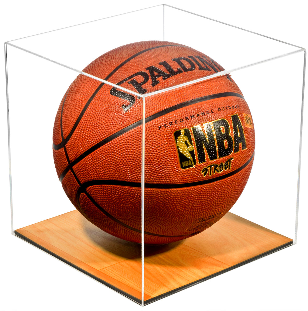 Deluxe Clear Acrylic Basketball Display Case with Simulated Wood Floor (A008-WB)