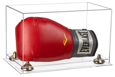 Clear Acrylic Single or Double Boxing Glove Display Case with Risers and Clear Base