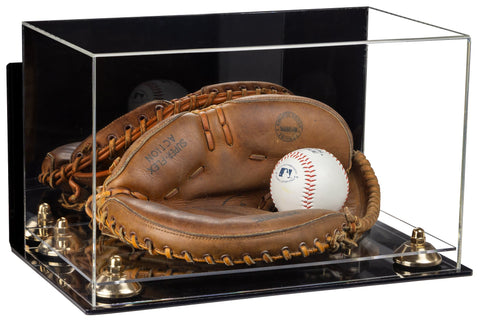 Acrylic Baseball Catchers Glove Display Case with Mirror, Wall Mount, Risers and Clear Base