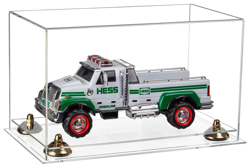 "Versatile Clear Acrylic Display Case - Medium Rectangle Box with Risers and Clear Base 14"" x 8"" x 8.5"""