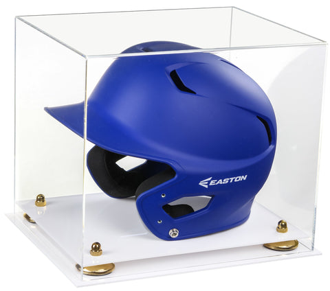 Clear Acrylic Baseball Batting Helmet Display Case with Risers and White Base
