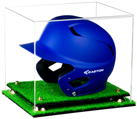 Deluxe Clear Acrylic Baseball Batting Helmet Display Case with Risers and Turf Base (A012-TB), Display Case, Better Display Cases, Better Display Cases - Better Display Cases