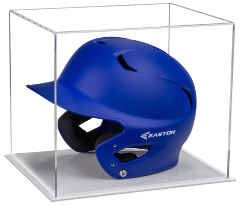 Acrylic Baseball Batting Helmet Display Case with White Base