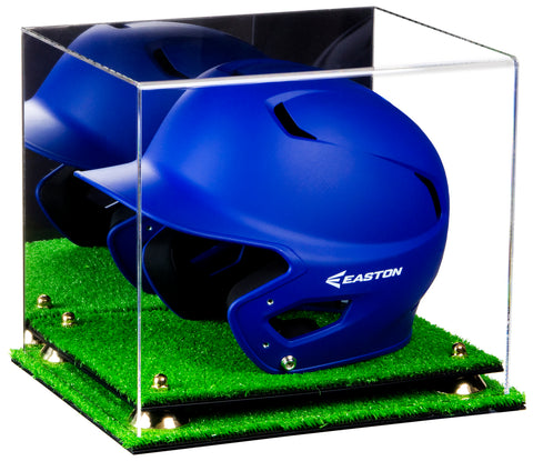 Deluxe Acrylic Baseball Batting Helmet Display Case with Risers, Mirror and Turf Base (A012-TB), Display Case, Better Display Cases, Better Display Cases - Better Display Cases