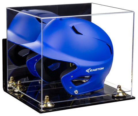 Acrylic Baseball Batting Helmet Display Case with Mirror, Wall Mount, Risers and Clear Base