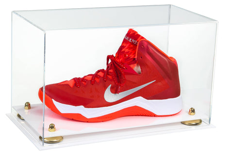 Clear Acrylic Large Shoe Display Case for Basketball Shoe Soccer Cleat Football Cleat with Risers and White Base
