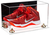 Clear Acrylic Large Shoe Display Case for Basketball Shoe Soccer Cleat Football Cleat with Mirror, Risers and Clear Base