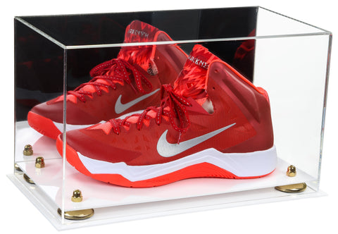 Acrylic Large Shoe Display Case for Basketball Shoe Soccer Cleat Football Cleat with Mirror, Risers and White Base