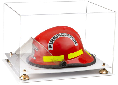 Clear Acrylic Fireman's Helmet Large Display Case with Risers and White Base