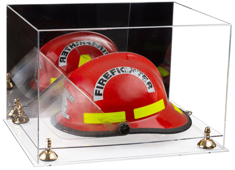 Acrylic Fireman's Helmet Large Display Case with Mirror, Risers and Clear Base