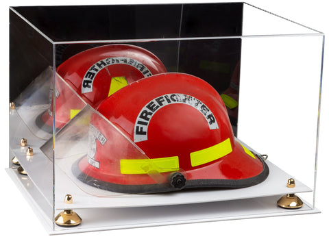 Acrylic Fireman's Helmet Large Display Case with Mirror, Risers and White Base